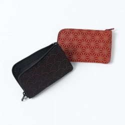 INDEN coin case & card zip lacquered deerskin