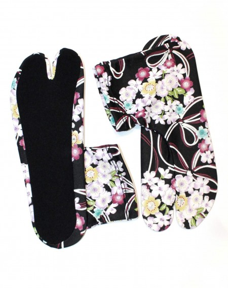 Flower extensible Japanese Tabi Socks (black)