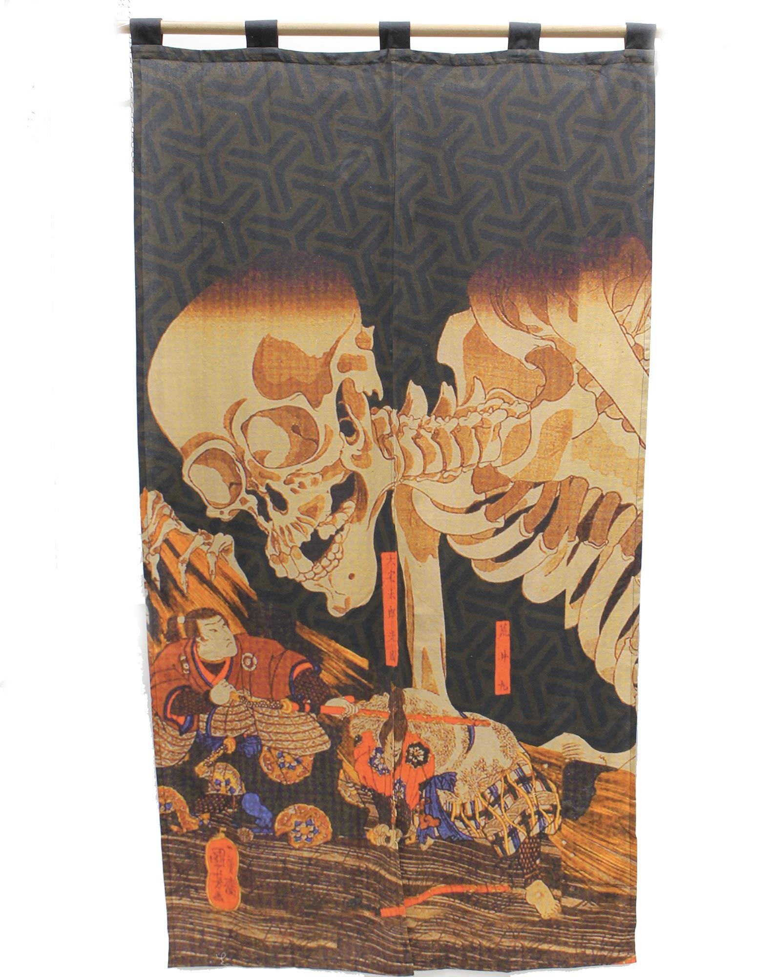 Rideau Noren Ukiyoé squelette