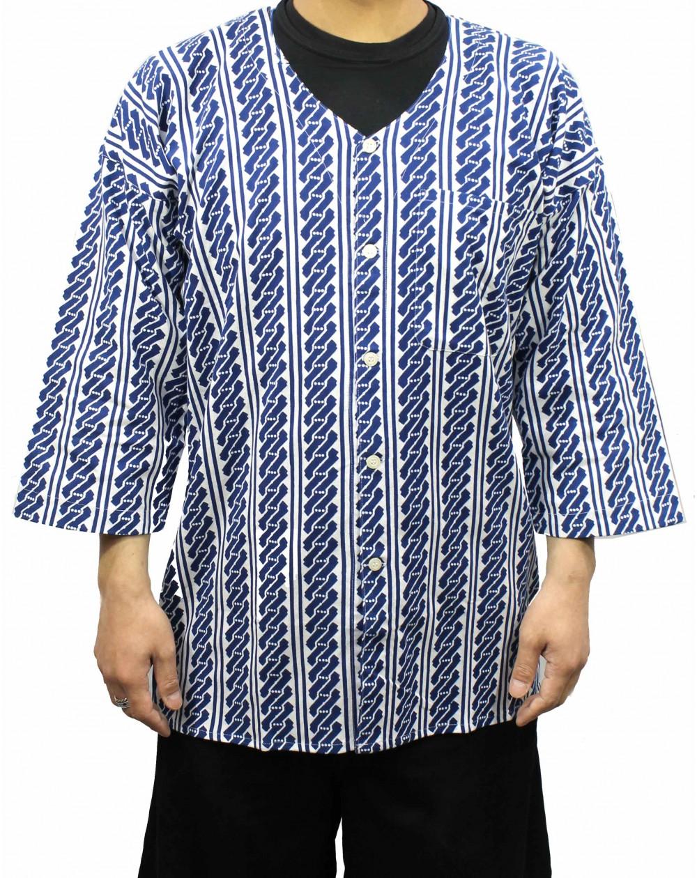 Koikuchi Blue hand print shirt