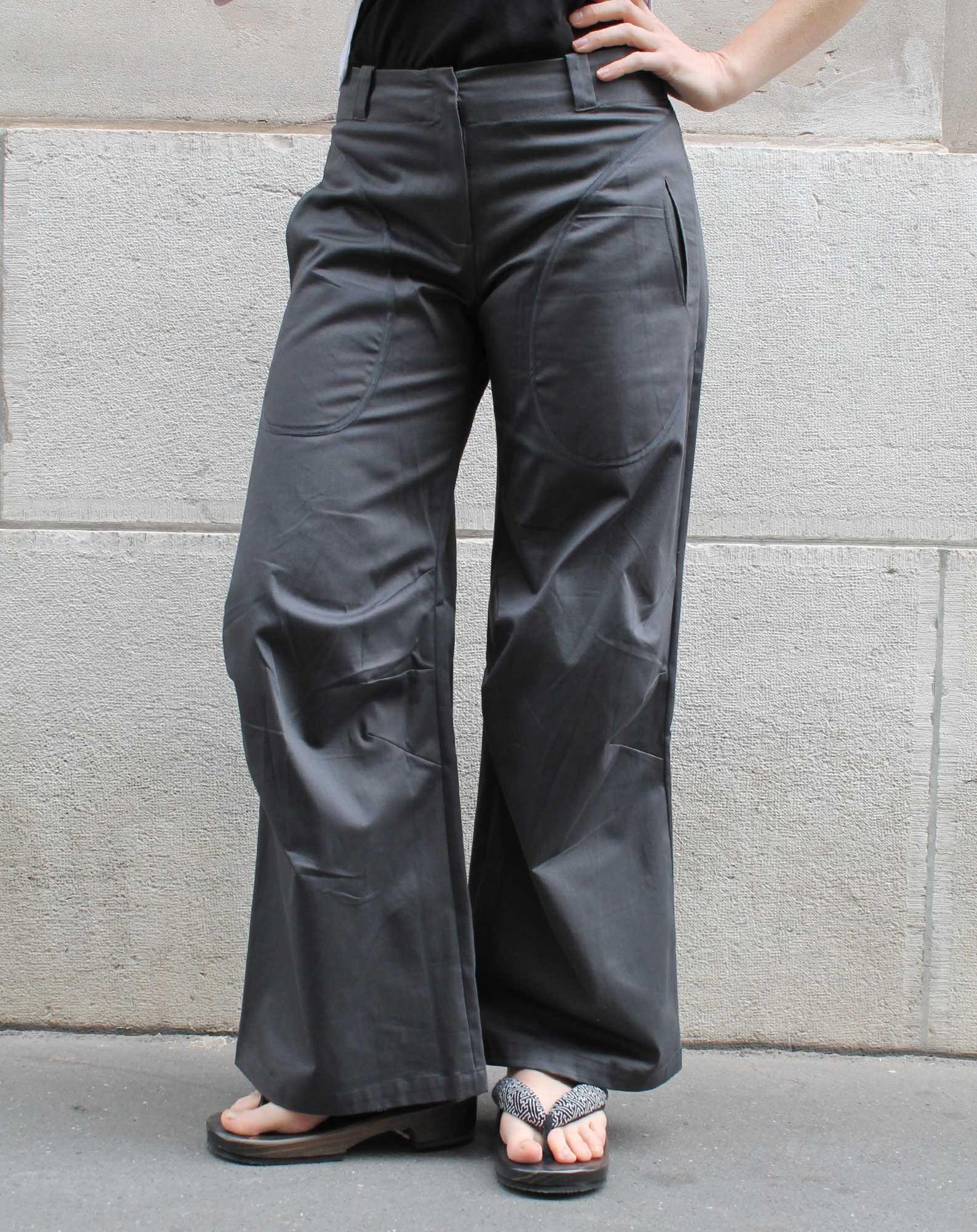 Pantalon plis aux genoux Coton satiné