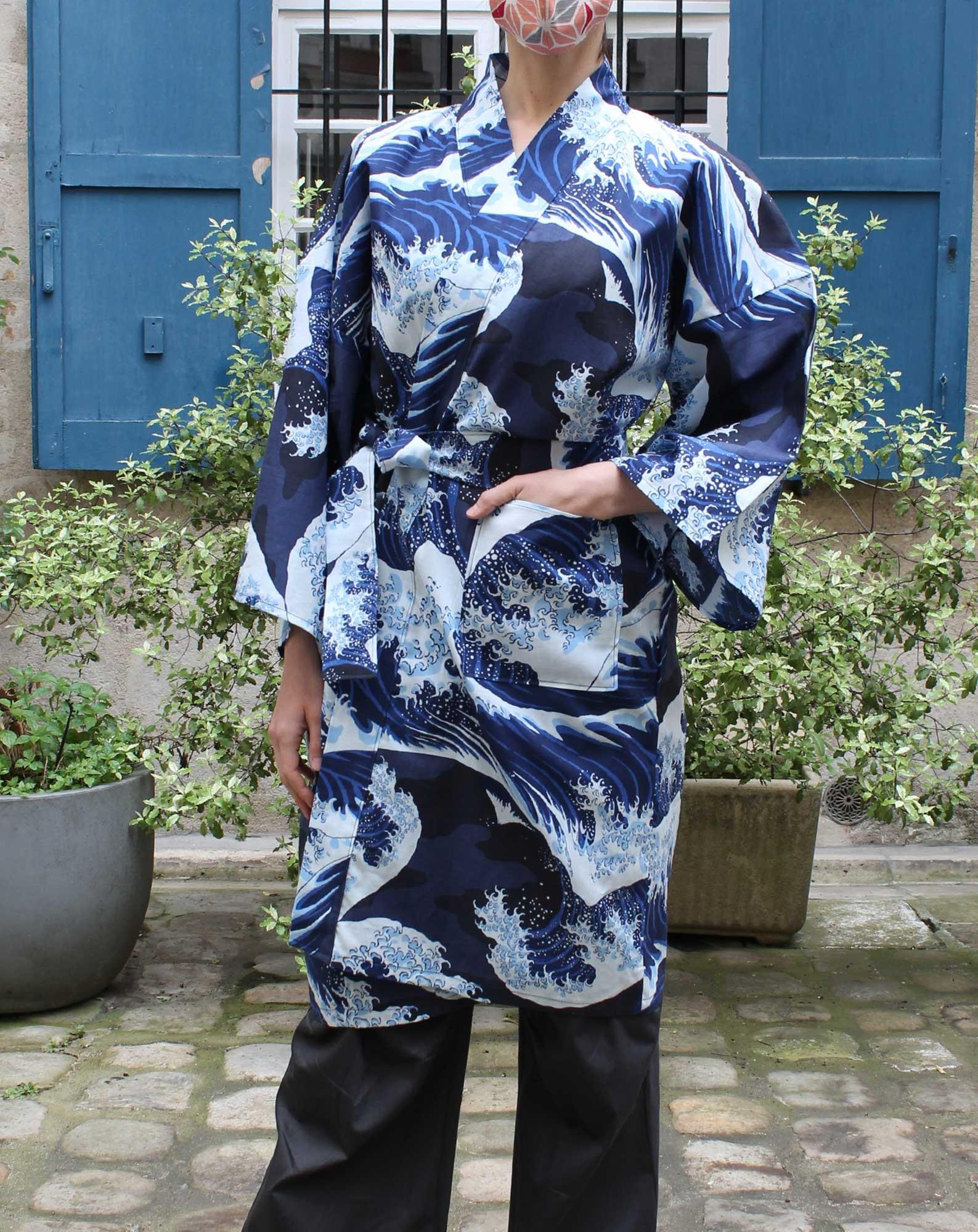 Yukata Court Vague Hokusaï en Coton
