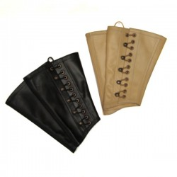 Sharp cut leather gaiters