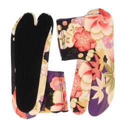 Chaussettes Tabi à fleurs violettes Shochikubai