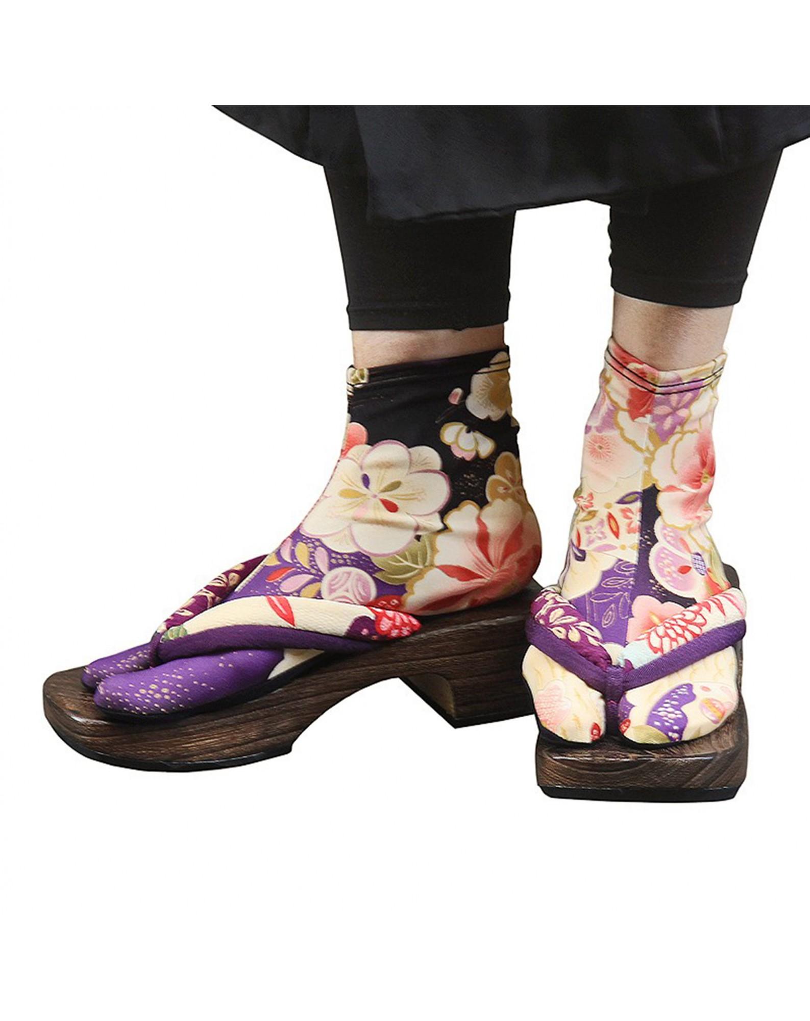 Japanese Flower Tabi Socks (purple)