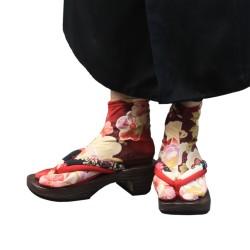 Japanese Flower Tabi Socks (red)