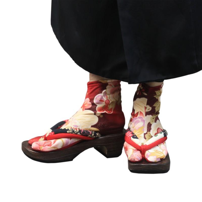 Chaussettes tabi à fleurs rouges