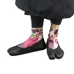 Chaussettes Tabi à fleurs sakura violette