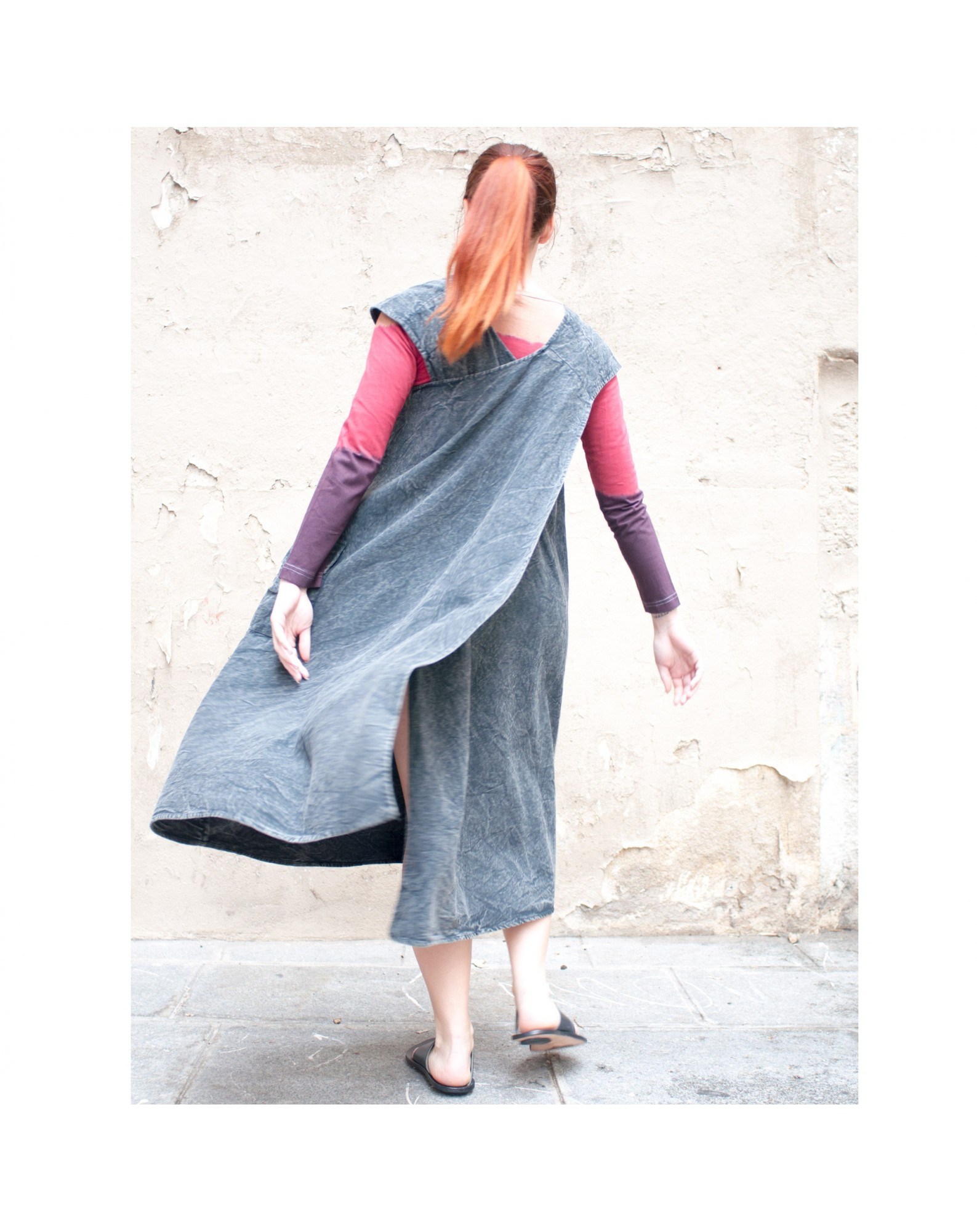 Robe tablier stone wash