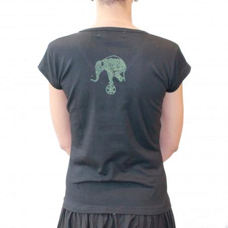 "T-SHIRT ""Elephant""  - femme kaki/noir"
