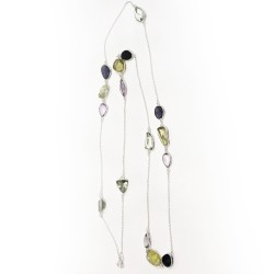 Romantic silver necklace multi stones