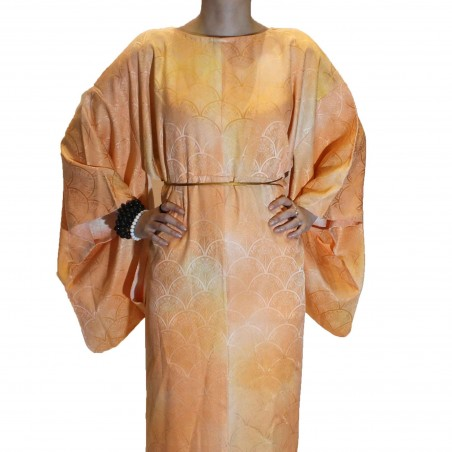 Round neck gradient kimono dress