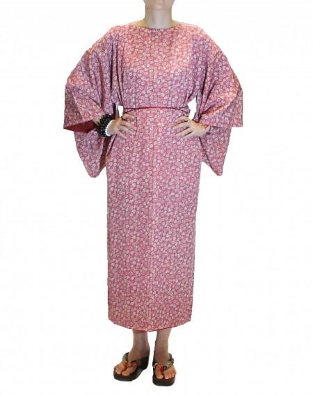 Robe kimono à col rond rose