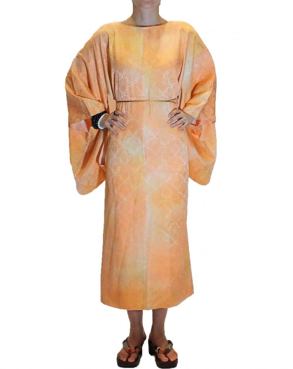 Robe kimono à col rond degradée