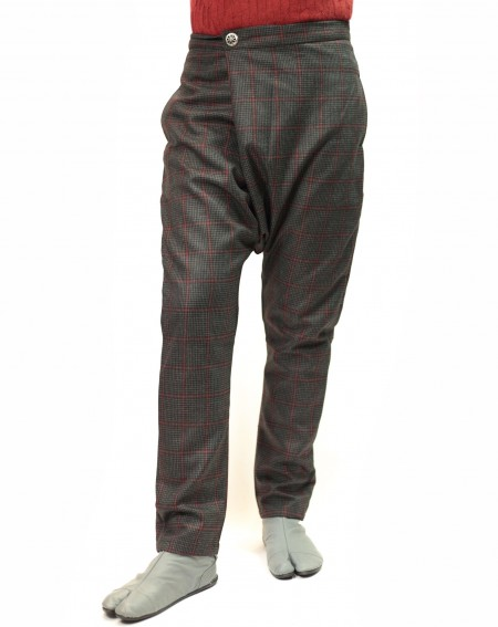 Slim wool harem pants check gray