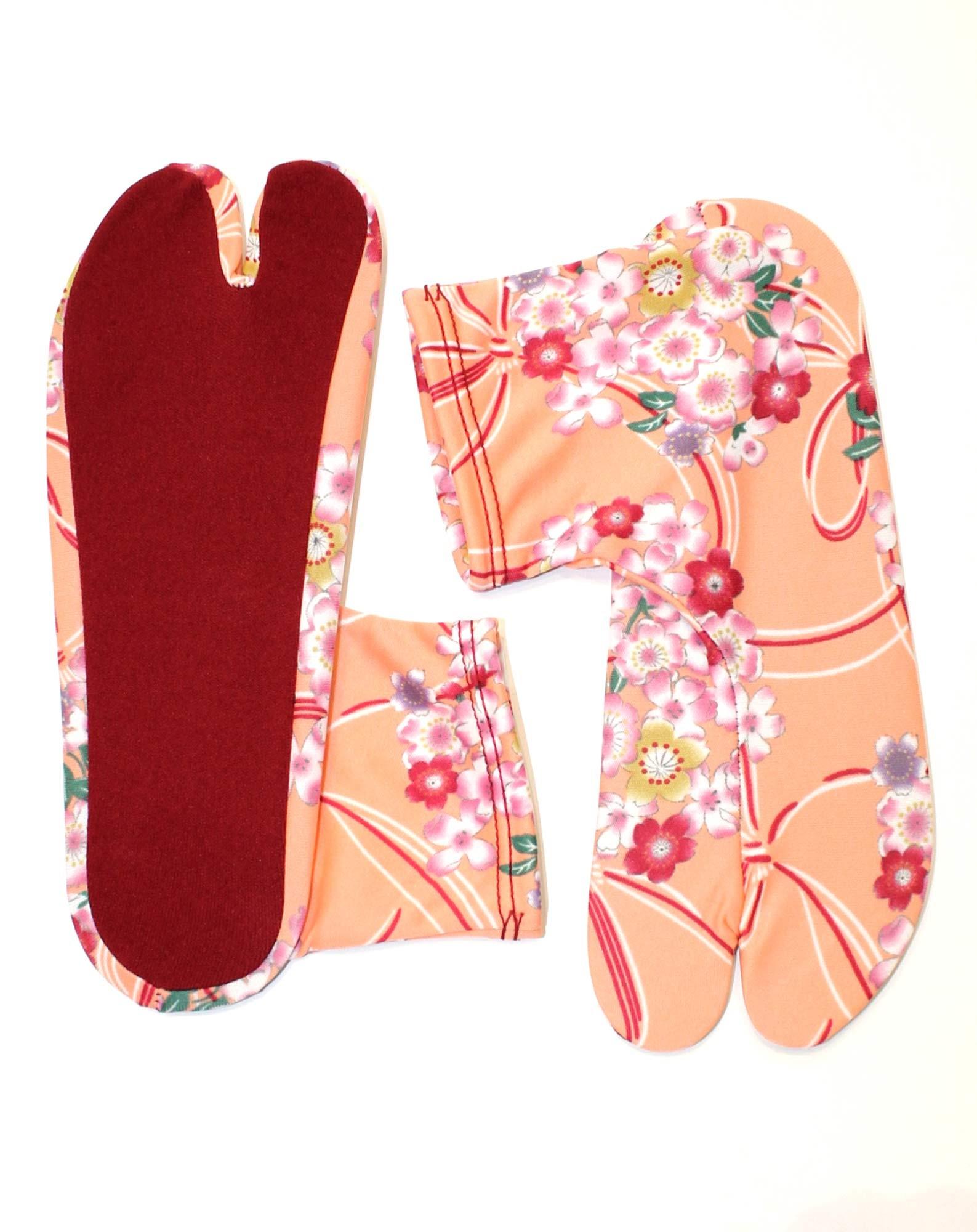 Chaussettes tabi extensibles à fleurs rose corail