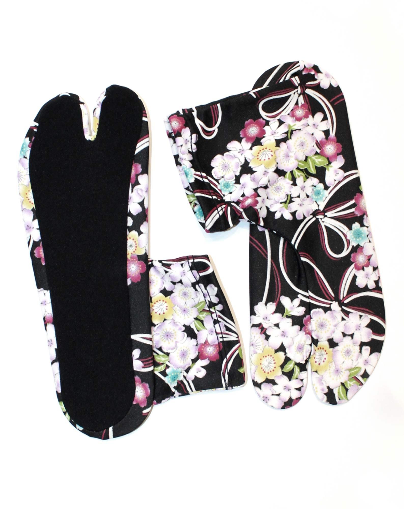 Chaussettes tabi extensibles à fleurs noires