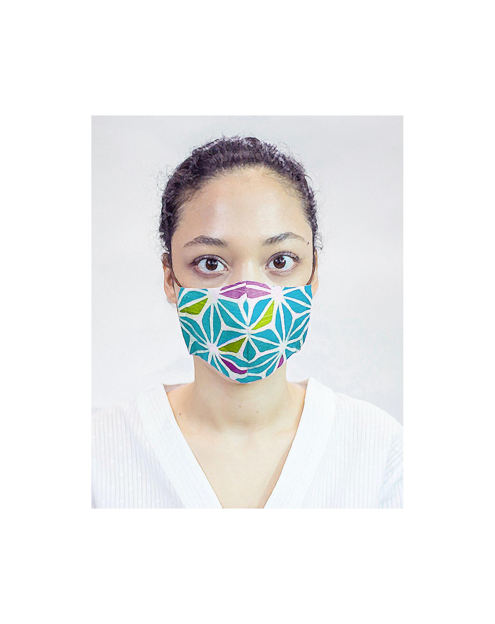 Masque de protection moulins à vent verts